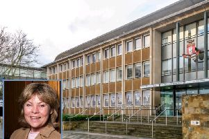 Shire Hall and, inset Cllr Izzi Seccombe.