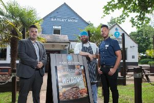(L-R) Barley Mow general manager Stefan Wright, second chef Jack Horley and shift supervisor Jake Widdowson