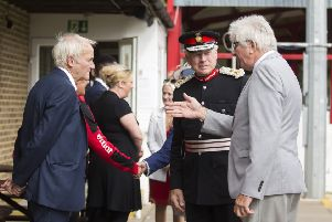 The Lord-Lieutenant of Northamptonshire, Mr David Laing opens Brackley Town FC dugout and watches walking football NNL-181109-172403009