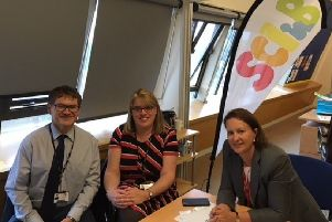 St Leonard's Primary head Neil Blackwell and deputy Sarah Moon talk to MP Victoria Prentis about SCIB ' Safeguarding Children in Banbury