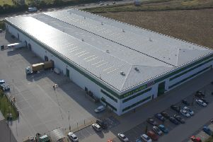 An aerial view of First Line's warehouse in Banbury.