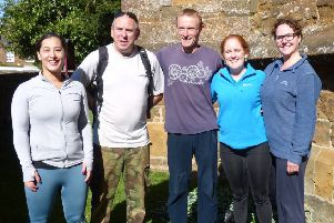 Deddington Parish Church abseilers Olivia Fenion, Jim Carvell, James Greenwood, Kirsten Goldthorp and Elli Ince NNL-181022-163821001