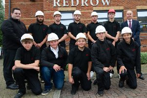 Ian Randall - Redrow's Learning and Development Co-ordinator with Redrow MD. John Mann and the new crop of apprentices ready to start at the company.'September 11 2018'''Matthew Power Photography'www.matthewpowerphotography.co.uk'07969 088655'mpowerphoto@yahoo.co.uk'@mpowerphoto