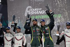 Aston Martin Racing drivers Nicki Thiim and Marco S�rensen on the podium after winning the 6 Hours of Shanghai