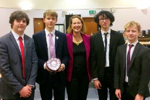 The victorious Warriner team with Banbury MP Victoria Prentis