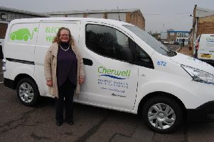 Cllr Debbie Pickford with one of the new electric vans at the Thorpe Way waste depot. Photo: Cherwell District Council