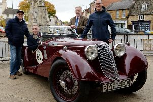 Monte Carlo Rally Historique 2019, UK Leg, Banbury, preview. From the left, Douglas Anderson, UK Leg Co-ordinator, John Lomas, Blue Diamond Services, Bicester, in a 1936 Riley Sprite, Cllr. Tony Ilott and Tom Duckham, CDC Street Scene Officer. NNL-180210-124037009