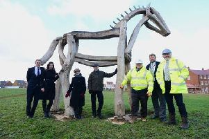 Bellway sales advisor Mark Brooks, sales manager Elaine Brown, Arts Office Paula Bailey, artist Philip Bews, Bellway project manager Alan Lee, Ashberry sales advisor James Padden and site manager Chris Jones. A new piece of public art, called The Horse, has been unveiled at the Hanwell View and Cherry Fields developments in Banbury. NNL-181219-103816001