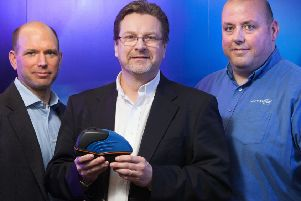 From left, Bill Yost of Mercia, Sigmavision's managing director Andrew Pryce and sales director Chris Coyle.