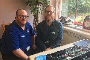 Radio Horton chairman Anthony Brown (right) and events coordinator Bill Warren at the Horton General Hospital's celebration of the NHS's 70th birthday NNL-180718-102612001