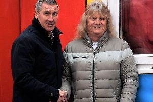 Club manager Mike Ford, left, with Karl Thompson.