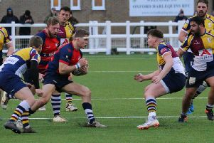 Banbury Bulls' Giles Saar takes on Oxford Harlequins. Photo: Simon Grieve