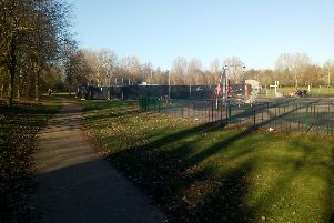 The park's framework can be seen standing way above the protective fencing