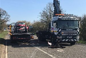 One of the vehicles involved in the crash being recovered. Photo: Northamptonshire Police
