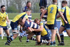 Duncan Lese is tackled during Saturday's game between Banbury Bulls and Trowbridge at the DCS Stadium. Photo: Steve Prouse