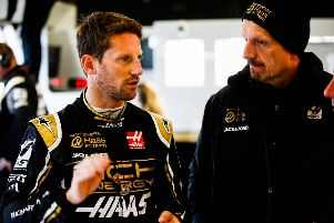 Rich Energy Haas F1 driver Romain Grosjean and team boss Guenther Steiner. Photo: Andy Horne