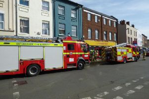 Fire engines on Banbury High Street attending an incident at Cash Converters