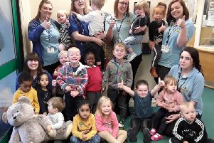 Children and staff celebrate at the Sunshine Centre in Bretch Hill