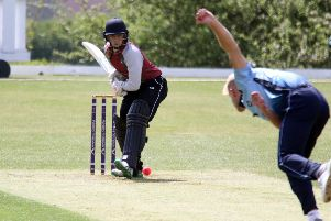 Banbury batsman George Tait faces a delivery from High Wycombe's Jonathan Burden at White Post Road. Photo: Steve Prouse