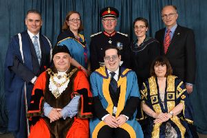 Andrew Willis with Poole's Mayor, OU Vice Chancellor, Professor Mary Kellettat (front row), Angus Campbell, Lord Lieutenant of Dorset (middle back row) and others at the ceremony