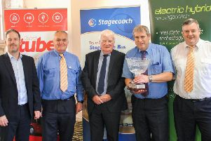 Chris Coleman (Stagecoach in Oxfordshire managing director), Banbury driver Andrew Stainton, John Ball, Phil Pointer (Green Road champion for Banbury) and Trevor Bayliss (Stagecoach in Oxfordshire operations manager for Banbury and Witney)