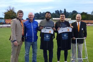 Pictured is Ryan Jones (second from right) with l - r, Mark Allitt, commercial director for Banbury Utd, Dave Upton and Sajjad Ahmed from Castle Cars and Ricky Rea, BUFC development director.