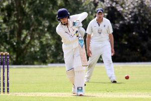 Banbury batsman Alistair Short plays his shot against Challow & Childrey at White Post Road
