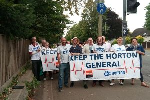 James Corbett (front left) and Horton supporters outside the Oxford Road hospital entrance