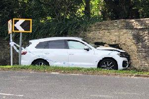 The crashed car on a notoriously bad bend in Aynho. Picture by Aynho Village Twitter feed