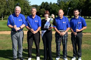 ENRYCH Golf Day at Cherwell Edge Golf Club. Team Norbar, main sponsors. From the left, Keven Hawkins, Paul Carruthers, Elaine Gilbert, ENRYCH organizer, Davit Aries and Jonathan Carruthers. NNL-190309-121900009