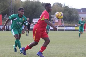 Banbury United's Jaanai Gordon goes on the attack against Hitchin Town. Photo: Steve Prouse