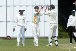 Sam Pitkin celebrates a wicket for Flitwick