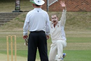Oliver Evans pleads for a wicket against Dunstable on Sunday
