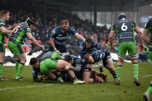 Action from the Blues win over Yorkshire Carnegie last weekend
