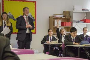 Education Secretary Damian Hinds oversees a history lesson during his visit to Bedford Free School last Thursday