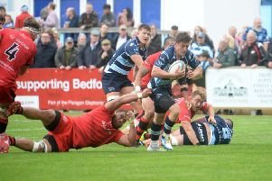 Action from Bedford's win over Jersey on Saturday