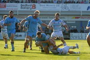 Action from the clash between Bedford and London Scottish