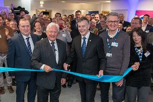 Chairman of Barclays, John Mcfarlane, officially opens the new aviation technology hub at Cranfield University.