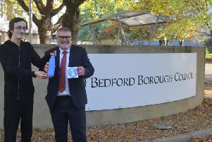 Mayor Dave Hodgson with Cory Walker, Refill Bedford organiser Cory Walker