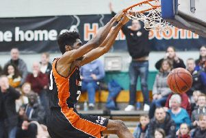 Hemel Storm new man TrayVonn Wright delivers a spectacular dunk against Newcastle on Saturday. (Picture by Lin Titmuss).