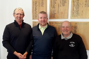 From left,  May's medal winners at Little Hay GC, Paul Mudd (seniors), Martin Bull (men's Division Two), and Tom Wood (men's Division One).