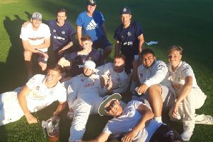 Hemel's Sunday 1sts relax after a thrilling final-ball victory over Hertford.
