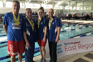 From left, Mark Strakosch, Dave Pirrie, Rebecca Hopper and Hilary Coulson excelled at the East Regional Masters Championships in Newmarket, Suffolk.