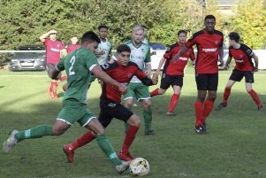 Action from Leverstock Green's 2-1 triumph over sixth-placed Herefield United at Pancake Lane on Saturday.