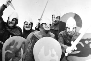 Actors reliving the Battle of Hastings in 1966