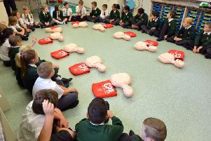 Pupils at St Peter and St Paul CEP School, Bexhill, participating in Restart a Heart 2016.