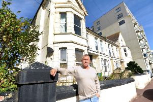 Tony Cunningham outside the proposed hotel site