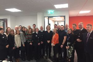 Amber Rudd and Katy Bourne with partners at the launch SUS-171218-122318001