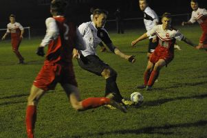 Gordon Cuddington on the ball during Bexhill United's last outing, a 2-0 win at home to Seaford Town 13 days ago. Picture by Simon Newstead