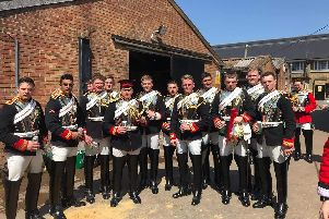 Keaton with members of Blues and Royals Household Calvary Mounted division